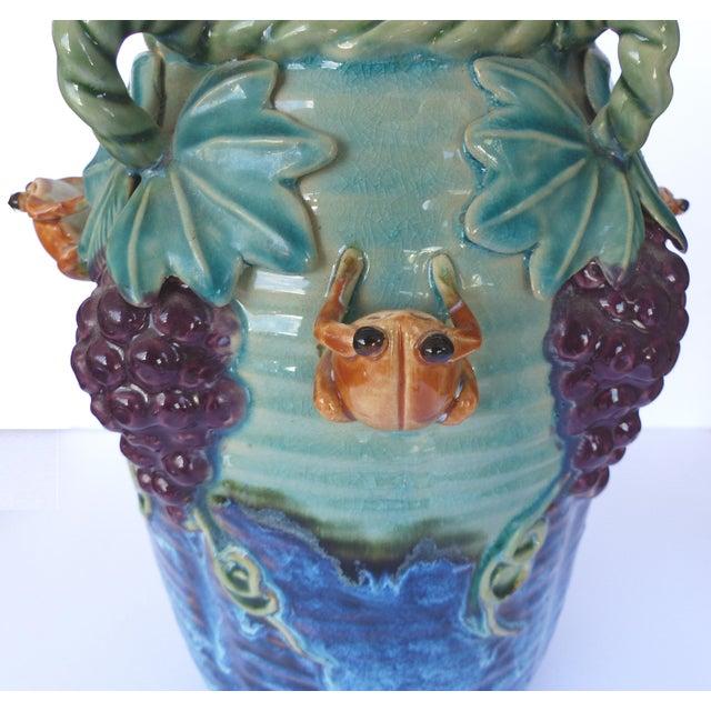 Glazed Majolica Pottery Grapes & Frogs Motif Vase For Sale In Miami - Image 6 of 9