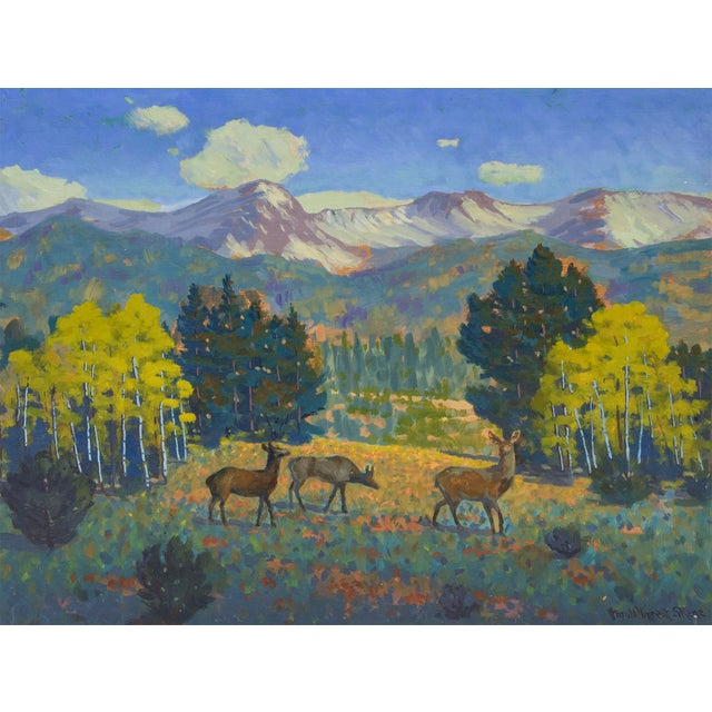 An original oil painting of deer and mountains in Yellowstone by Western American artist Harold Vincent Skene (1883-1978)...