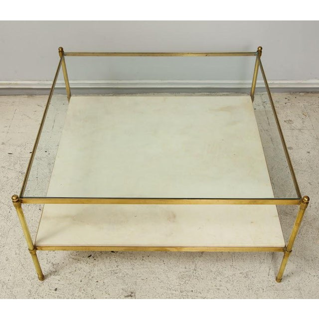 Parchment and Bronze Coffee Table With Glass Top For Sale - Image 4 of 11