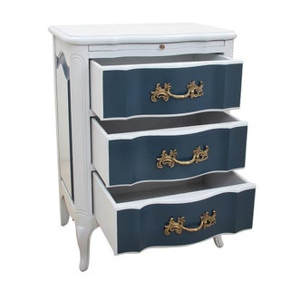 French Clayburn Blue and Gray Nightstands - a Pair Preview