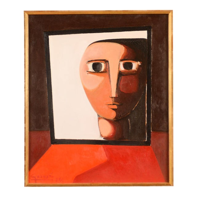 Antonio Guanse 'Abstract Face by the Window' Oil Painting -1960s For Sale