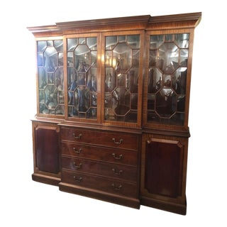 Antique Style English Solid Mahogany Breakfront China Cabinet For Sale