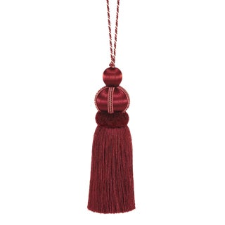 "Ruby Red Key Tassel With Cut Ruche - Tassel Height 5.75"" For Sale"