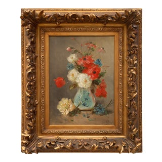 """""""Still Life of Flowers in a Pale Blue Vase"""" by Henry Schouten For Sale"""
