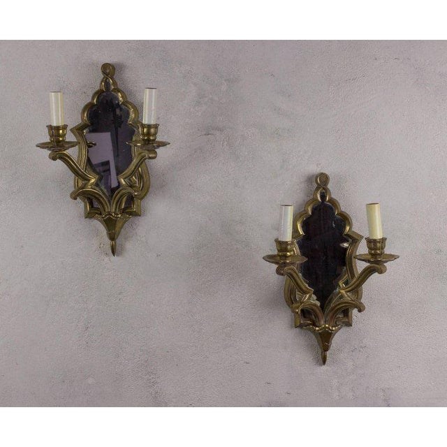 Pair of French Gilt Bronze Sconces For Sale - Image 9 of 10