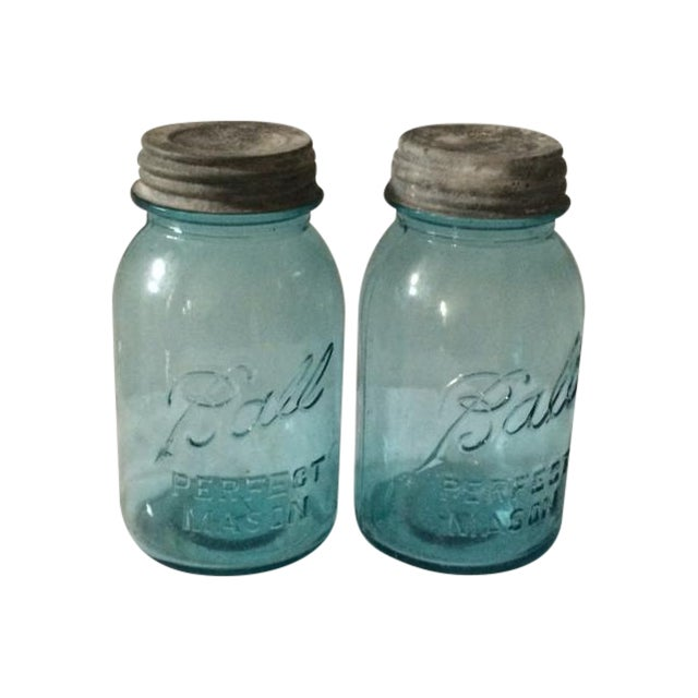 Vintage Blue Ball Jars With Tin Lids - 2 For Sale