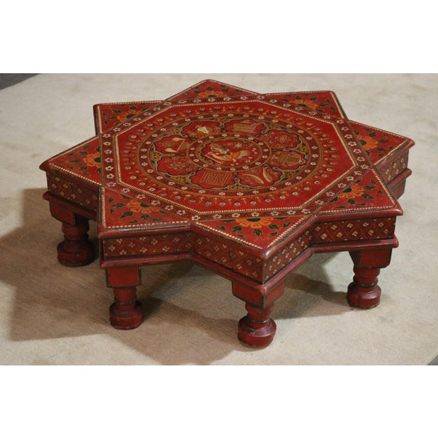 Painted wooden Low coffee table from India C. 1920s.