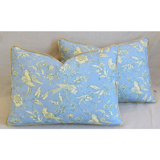 """Scalamandre Aviary Linen & Velvet Feather/Down Pillows 25"""" X 18"""" - Pair For Sale - Image 12 of 13"""