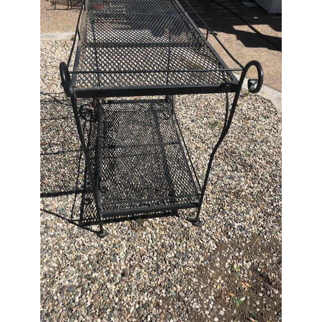 Mid-Century Modern Vintage Russel Woodard Wrought Iron Drink/Bar/Flower Pot Cart For Sale - Image 3 of 7