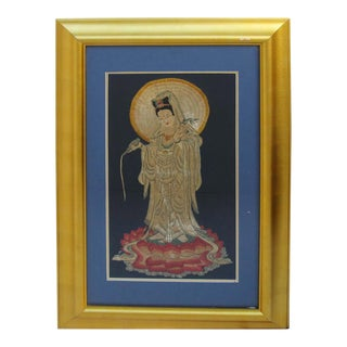 Chinese Hand Embroidery Golden Frame Spring Dew Kwan Yin Statue Wall Decor For Sale