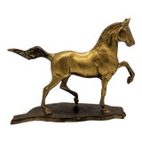 Image of Mid Century Solid Brass Horse on Stand For Sale