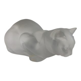 1990s Large Lalique Cat Figurine For Sale