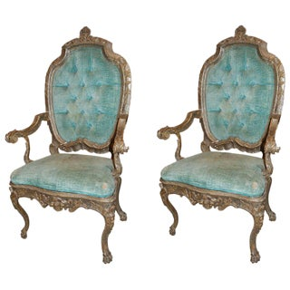 19th C. Venetian Silvered Armchairs