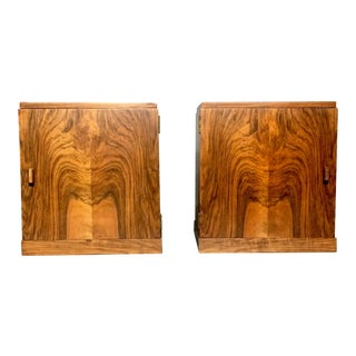 Pair of 1940s Scandinavian Walnut Bedside Tables For Sale