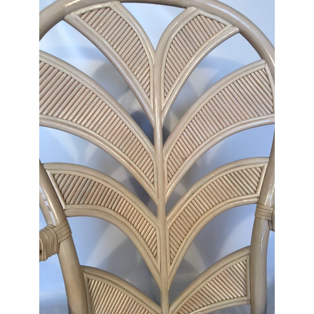 Wood Mid Century Rattan Palm Tree Back Chair - 10 Available For Sale - Image 7 of 12