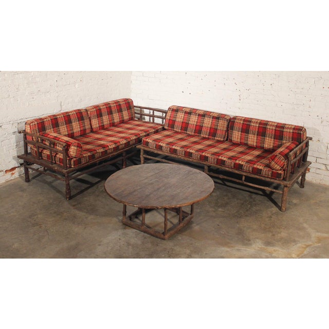 Old hickory style sofa chaise coffee table 3 chairish for Chaise coffre