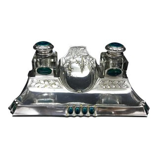 1900 Art Nouveau Silver Plated German Inkwell For Sale