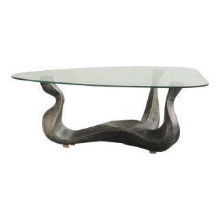 1960s Sculptural Metal and Glass Coffee Table For Sale