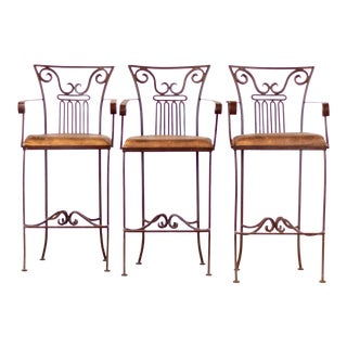 Contemporary Iron Bar Stools - Set of 3 For Sale