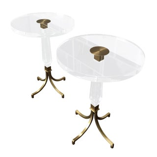 Custom Regency Style Lucite and Brass Side Tables by Charles Hollis Jones For Sale