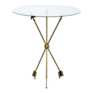 Mid Century Modern Gio Ponti Brass Glass Arrow Accent Occasional Table For Sale