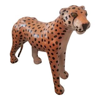 Vintage Leather Leopard-Cougar Statue For Sale