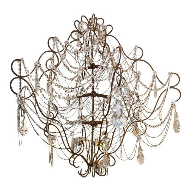 Mid 20th Century 9 Light French Beaded & Crystal Chandelier For Sale - Image 5 of 5