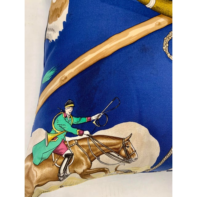 Hermès Paris blue silk scarf custom made into a pillow features a fox hunt with horses and dogs. Made in France, 100%...