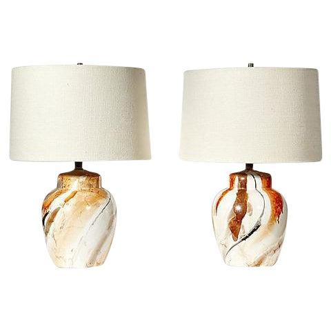 1970s Swirl Ceramic Barrel Lamps - A Pair - Image 1 of 5
