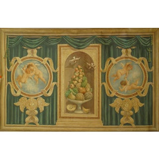 Italian Neo-Classic Mural of Cupids & Fruit Painting For Sale
