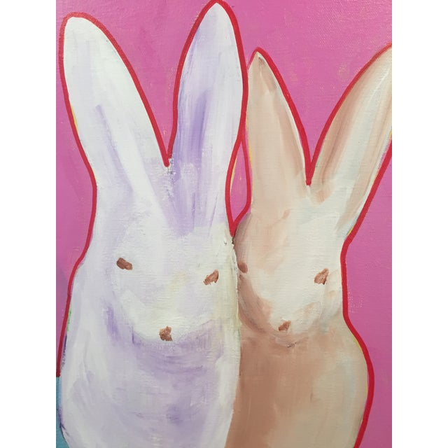 """Pop Art """"The Bunnies"""" Pop Art Actylic Portrait in Pink For Sale - Image 3 of 4"""