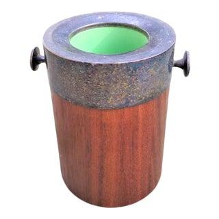 Vintage Metal & Wooden Ice Bucket For Sale