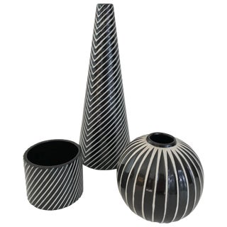Set of Three Stig Lindberg for Gustavsberg, Domino Vases For Sale