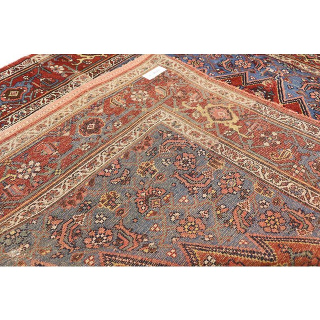 Early 20th Century Antique Persian Malayer Accent Rug - 4′9″ × 5′3″ For Sale - Image 4 of 5