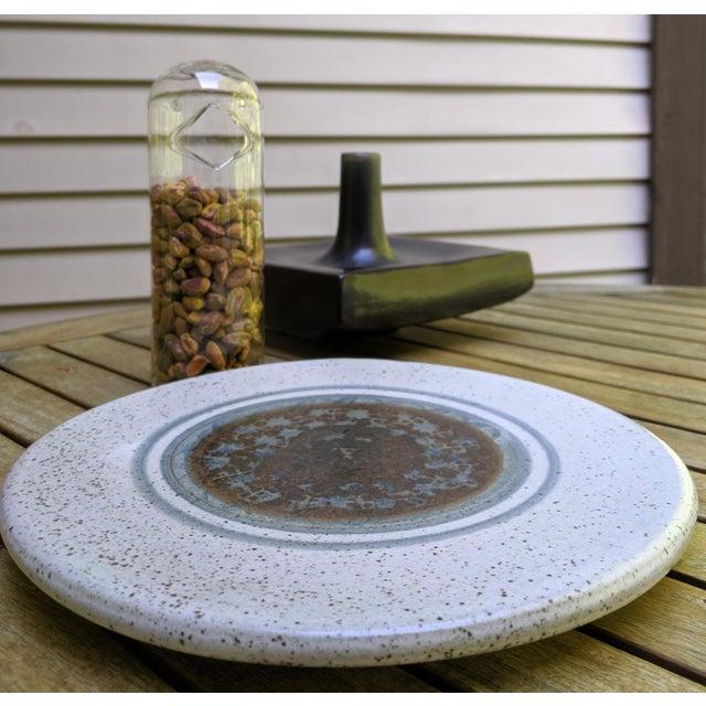 Midcentury Modern Round Glazed Pottery Pedestal Platter For Sale - Image 4 of 13