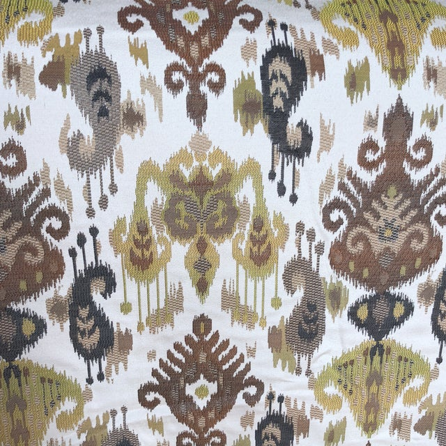 Beautiful Ikat brown, black & chartreuse on a cream ground