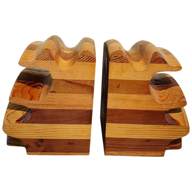 Pair of Wood Bookends in the Manner of Don Shoemaker For Sale