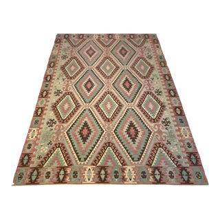 Vintage Antique Handwoven Wool Flat Weave Turkish Aztec Navajo Style Rug For Sale