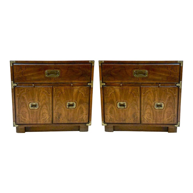 Pair of Drexel Campaign Style Side Tables For Sale