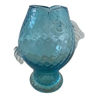 Vintage Blenko Blue Glass Fish Vase For Sale