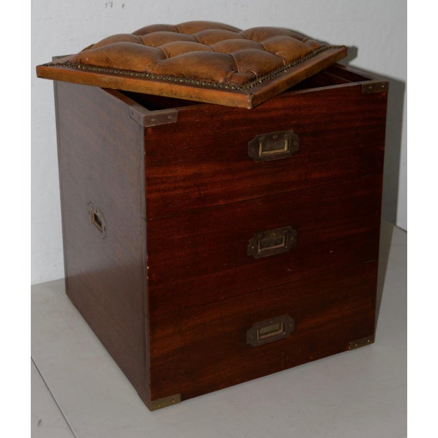 19th Century 19th Century Campaign Mahogany Storage Chest W/ Tufted Leather Seat For Sale - Image 5 of 7