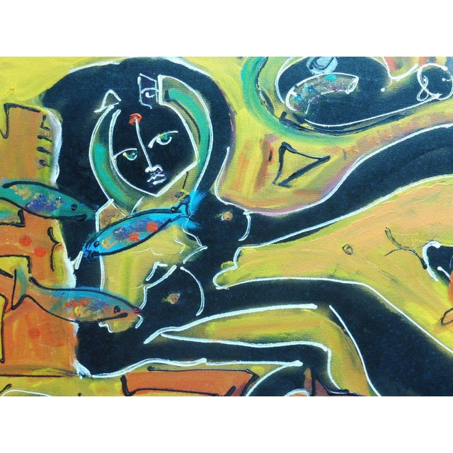 """Abstract Abstract """"Nude with Fish"""" Painting by Neith Nevelson For Sale - Image 3 of 5"""