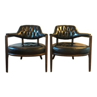 1950s Mid Century Modern Maurice Bailey Monteverdi Young Black Leather Lounge Chairs - a Pair