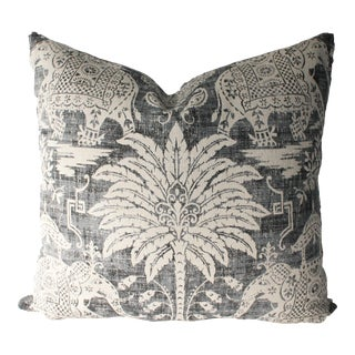 Chinoiserie Old World Decorative Charcoal Elephant Pillow - 20x20 For Sale