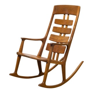 Hand Made Thomas Saydah Mixed Wood Rocking Chair C.1988 For Sale