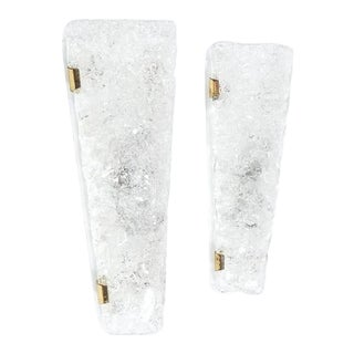 Set of 3 Hillebrand Ice Glass and Brass Sconces, circa 1970 For Sale