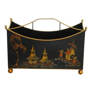 Italian Chinoiserie Japanned Magazine Rack for Bergdorf Goodman For Sale