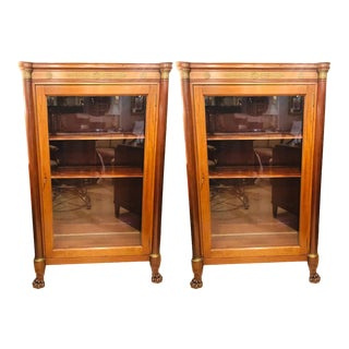 Late 19th Century Empire Style Bookcase Cabinets With Bronze Mounts - a Pair For Sale