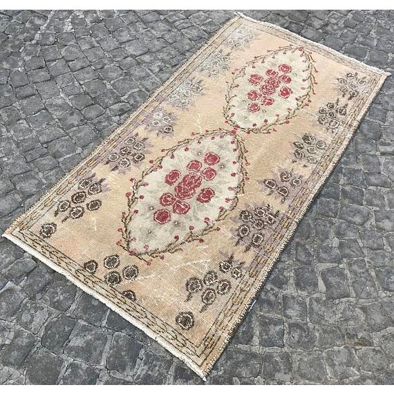 Islamic Floral Turkish Carpet - 2′11″ × 5′9″ For Sale - Image 3 of 6
