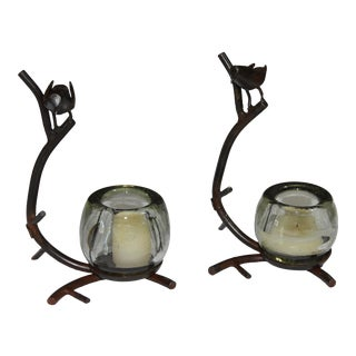Jan Barboglio Handcrafted Forged Cast Iron Paloma Bird Dove Glass Votive Holders - a Pair For Sale